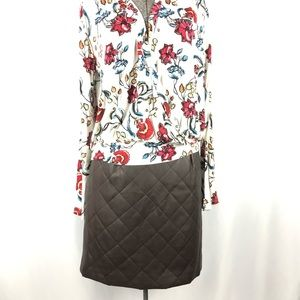 Black Brown Quilted Skirt